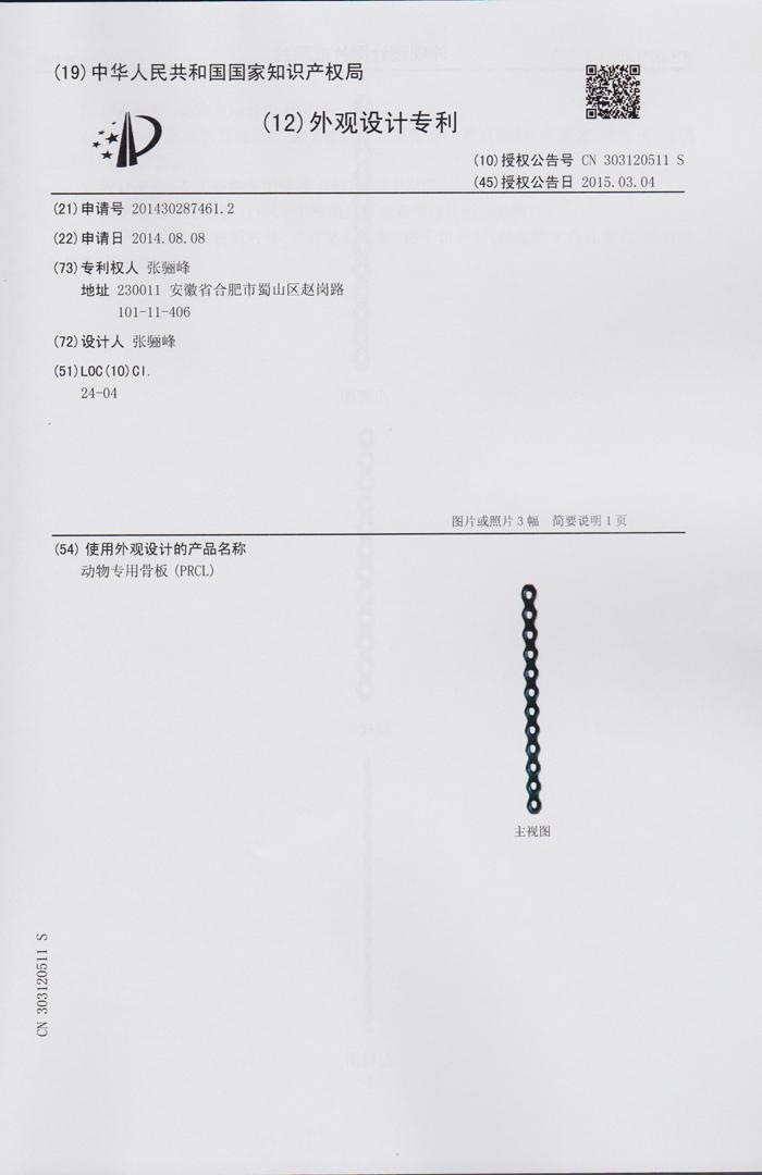 PRCL锁定骨板系统01_外观专利